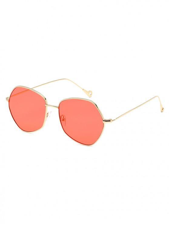 fancy Irregular Shape Alloy Frame Sunglasses - BEAN RED