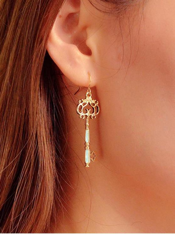 unique Vintage Hollow Key Dangle Earrings - GOLD