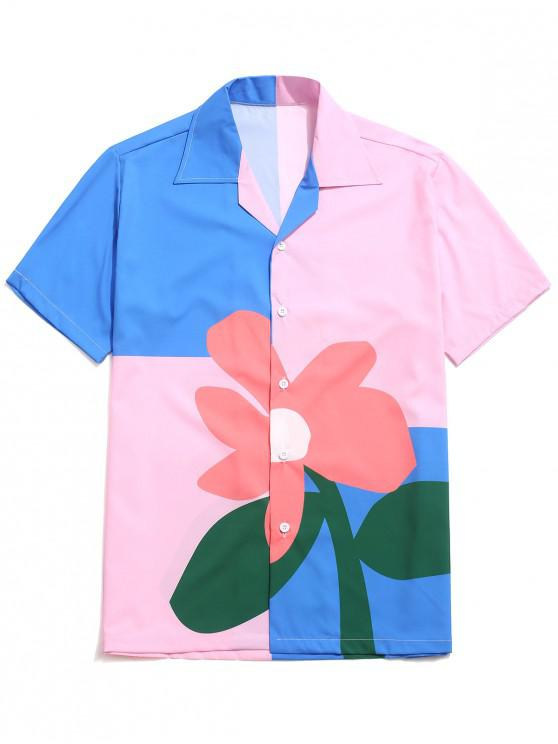 women Color Block Flower Print Button Shirt - MULTI-B M