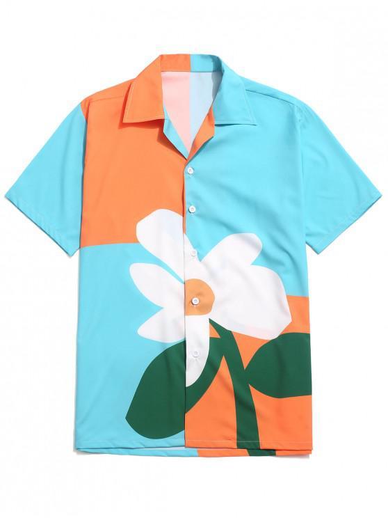 fancy Color Block Flower Print Button Shirt - MULTI-C XL
