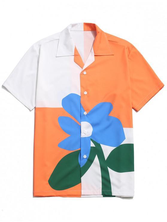 ladies Color Block Flower Print Button Shirt - MULTI-A L