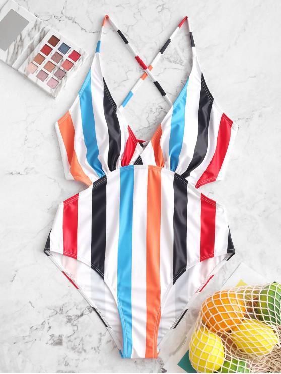 online ZAFUL Striped Criss Cross Plunge One-piece Cut Out Swimsuit - MULTI-A XL