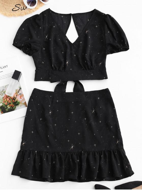 online ZAFUL Star Print Knotted A Line Skirt Set - BLACK M