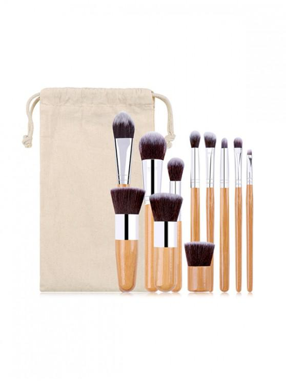 hot 11PCS Makeup Brush Set and Sack - BRIGHT YELLOW
