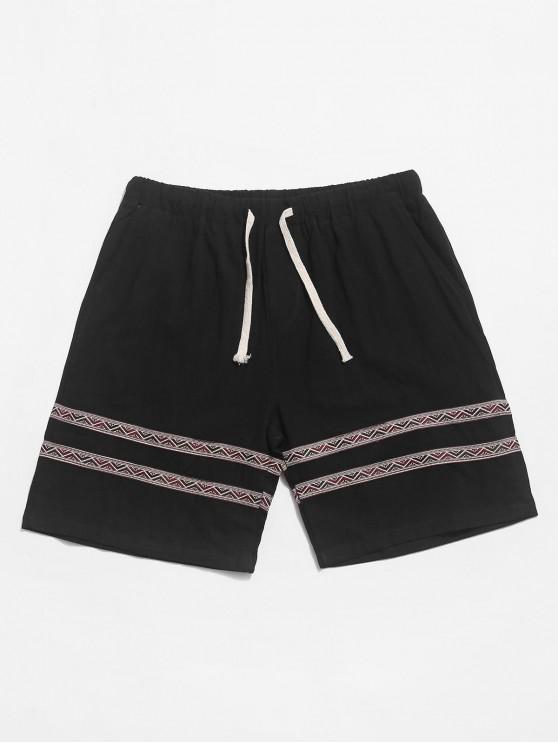shops Tribal Print Splicing Casual Shorts - BLACK S
