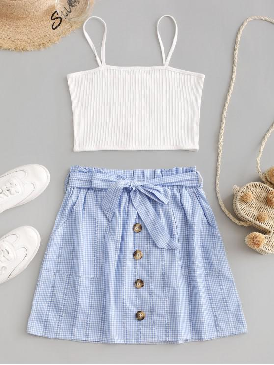 hot Ribbed Top And Gingham Buttoned Paperbag Skirt Set - WHITE S