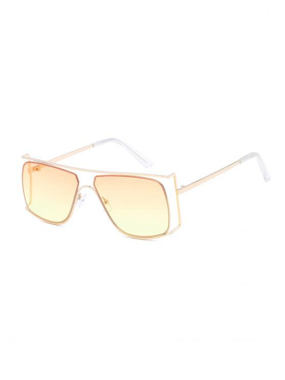 online Irregular Metal Frame Sunglasses - CORN YELLOW