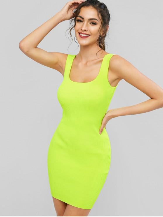 fashion Neon Ribbed Bodycon Tank Dress - TEA GREEN ONE SIZE