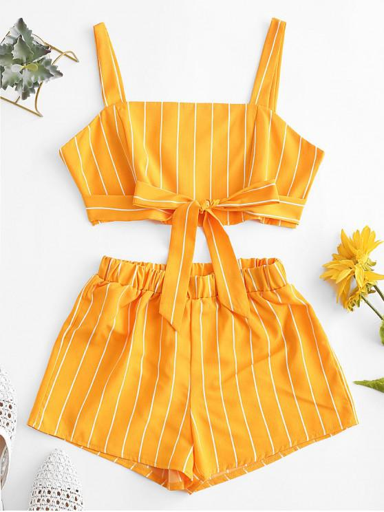 Back Zipper Stripes Set di due pezzi annodati - Giallo M