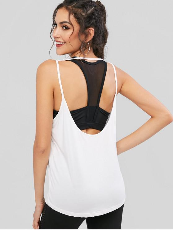 outfits Solid Cut Out Backless U Neck Tank Top - WHITE S