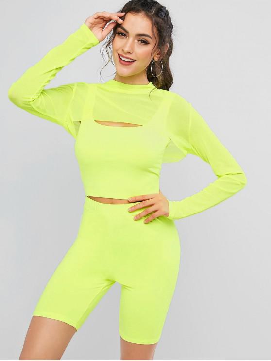 outfits Long Sleeve Mesh Panel Neon Three Pieces Biker Shorts Set - PISTACHIO GREEN S