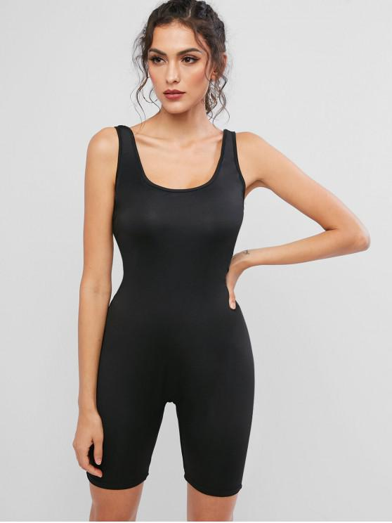 affordable Elastic Scoop Neck Unitard Tank Biker Romper - BLACK M