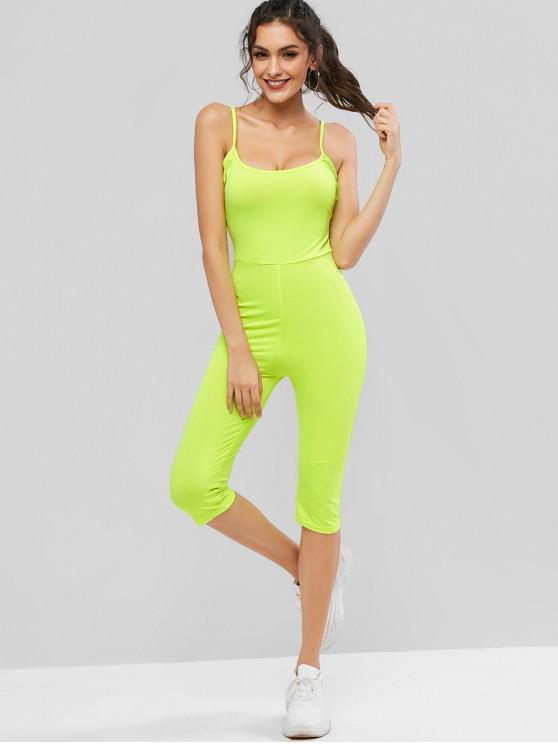 women's Neon High Waisted Capri Unitard Jumpsuit - PISTACHIO GREEN L