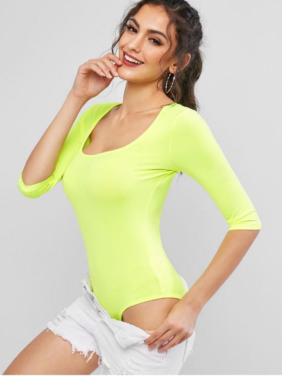 new Neon U Neck Stretchy Sporty Bodysuit - PISTACHIO GREEN M