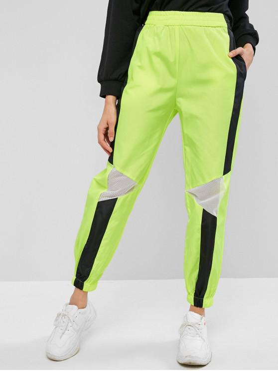 lady Neon Mesh Panel Color Block Jogger Gym Pants - TEA GREEN M