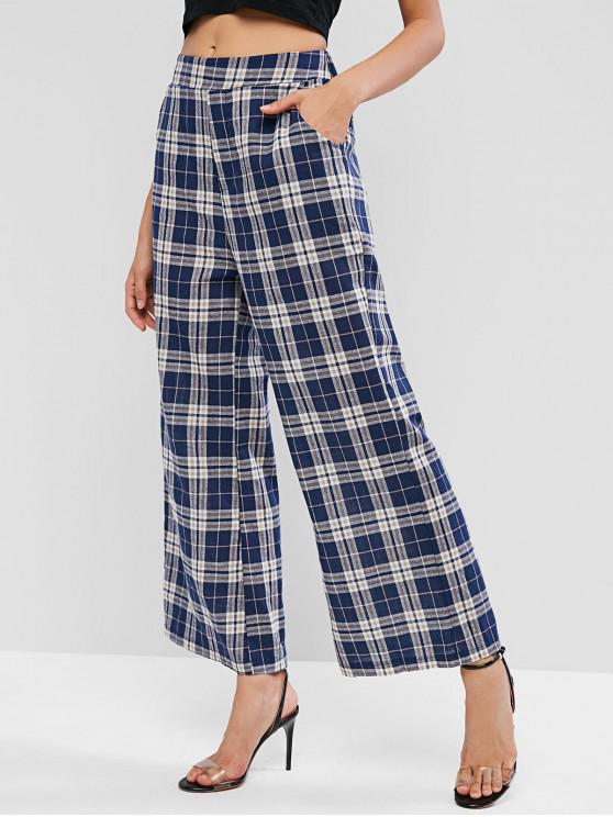 best High Waist Plaid Wide Leg Pants - MULTI-A S