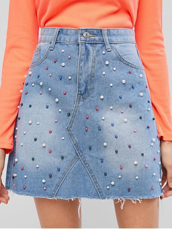Gonna di jeans bordata a vita alta con perle sfilacciate - Blu Jeans  S