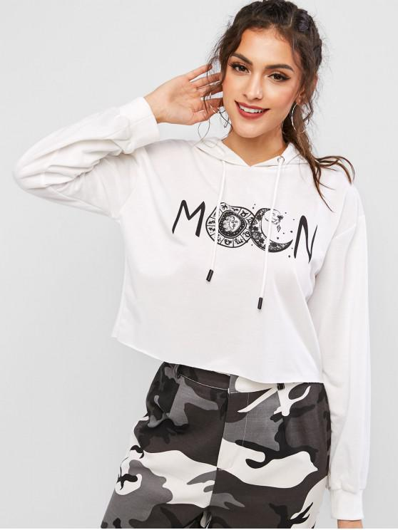 hot ZAFUL Sun and Moon Drop Shoulder Raw Hem Hoodie - MILK WHITE XL