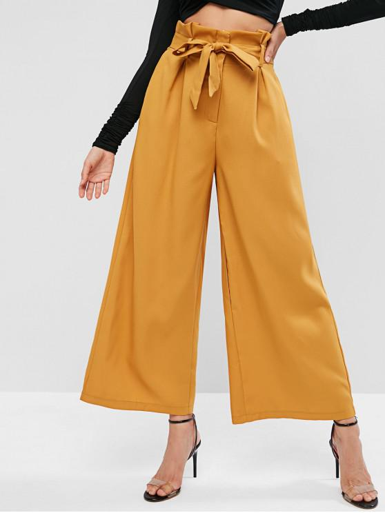 womens Belted Wide Leg Paperbag Pants - FALL LEAF BROWN S