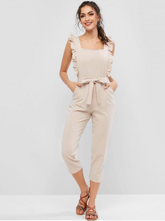ladies Ruffled Square Neck Belted Pocket Tapered Jumpsuit - LIGHT KHAKI L