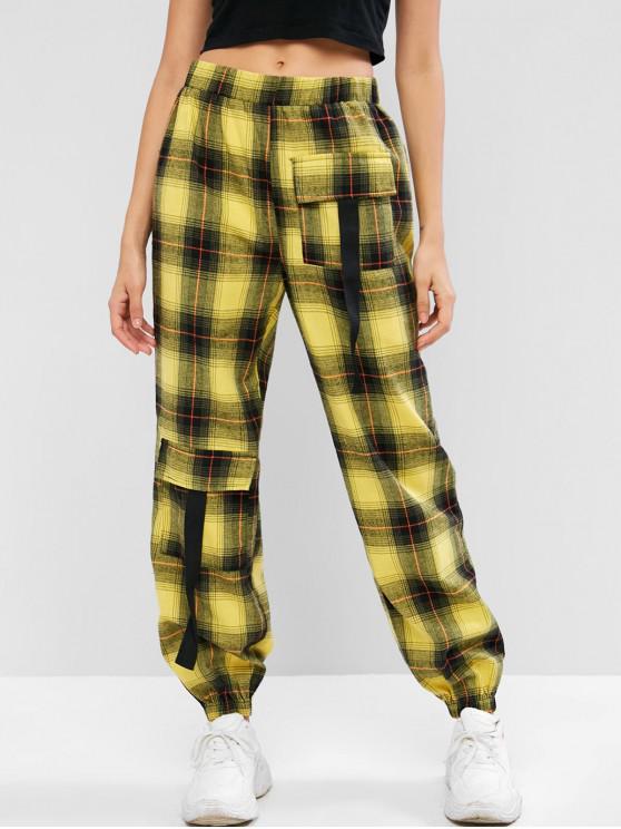 women ZAFUL Flap Pocket Plaid Jogger Pants - MULTI L