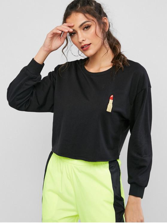women's ZAFUL Lip Embroidered Drop Shoulder Crop Sweatshirt - BLACK XL