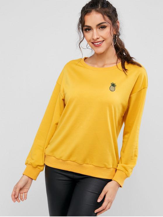 ZAFUL Sweat-shirt Ananas Brodé Goutte Epaule à Ourlet Côtelé - Jaune d'Abeille S