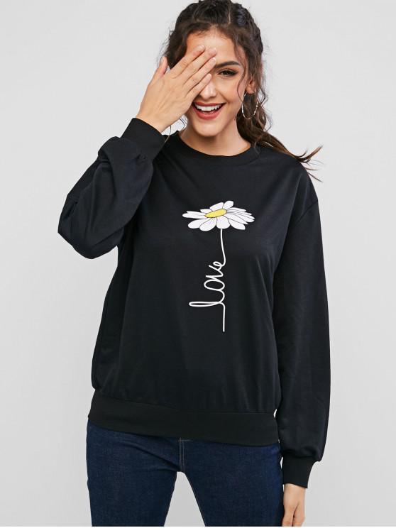 ZAFUL Sweat-shirt Décontracté Fleur Imprimée à Goutte Epaule - Noir L