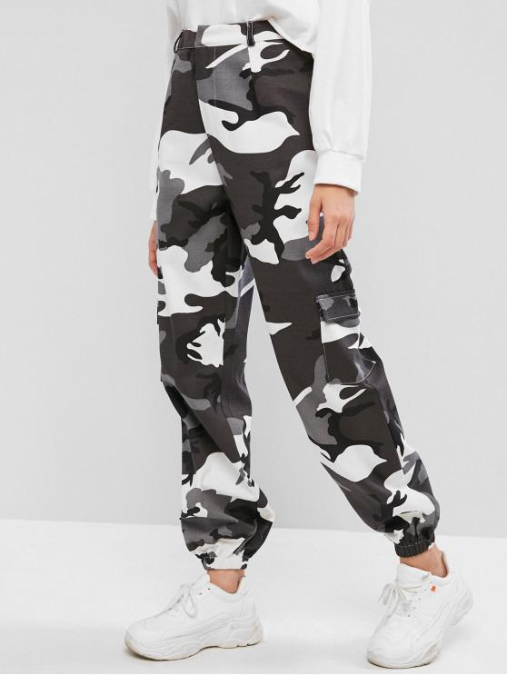 shop ZAFUL Camouflage Pocket Zipper Fly Jogger Pants - MULTI S