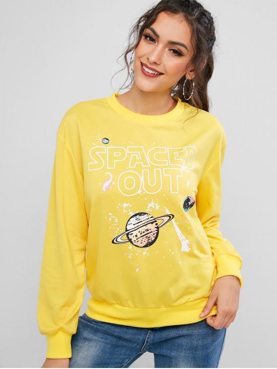 ZAFUL Sweat-shirt Graphique Planète Amusant à Ourlet Côtelé - Jaune d'Abeille L