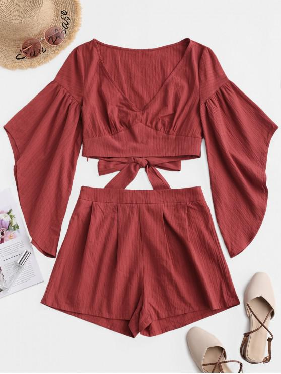 lady ZAFUL Asymmetrical Flare Sleeve Knotted Two Piece Shorts Set - RED WINE M