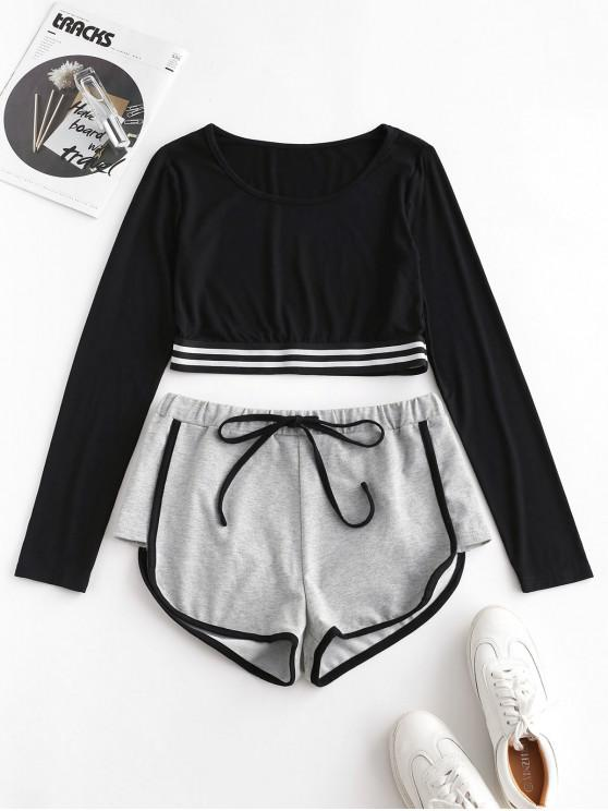 a47468bb ZAFUL Striped Patched Crop Dolphin Shorts Set