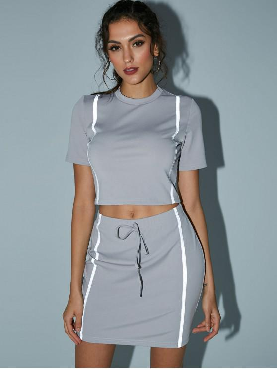 trendy Reflective Crop Top And Mini Skirt - LIGHT SLATE GRAY M