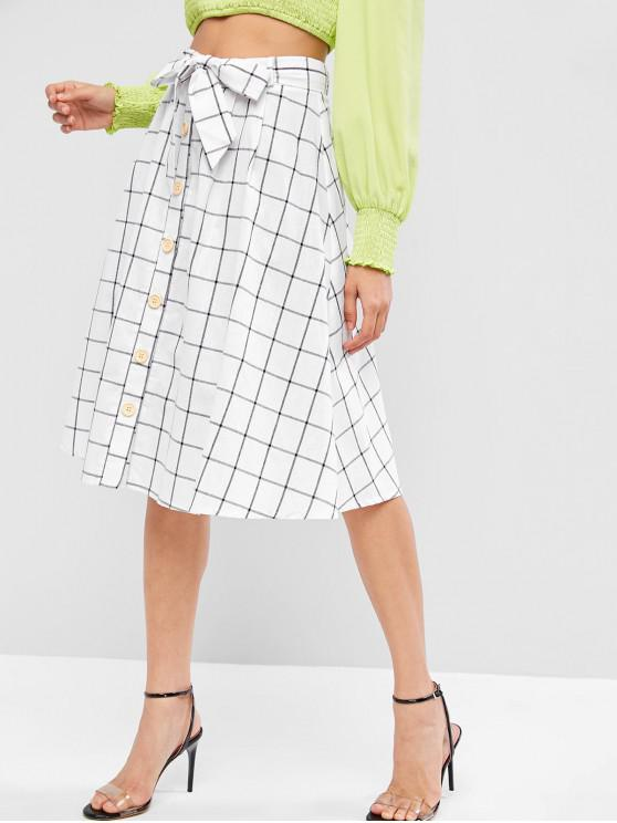 outfits ZAFUL Button Fly Plaid Belted Knee Length Skirt - MILK WHITE L