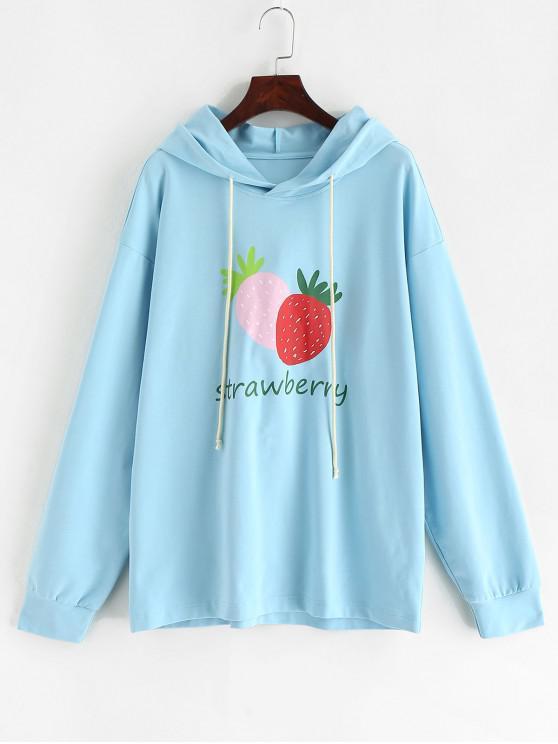 Felpa con cappuccio e logo ZAFUL Strawberry Letter - Blu Cielo  M