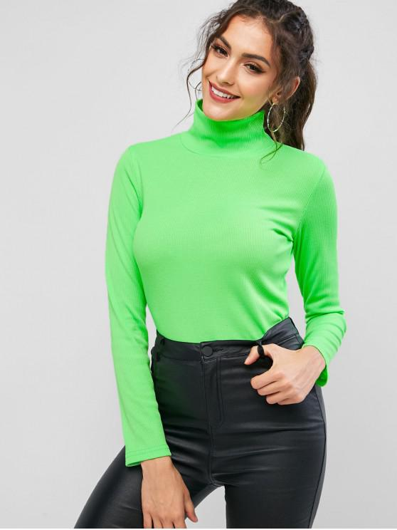 Maglietta neon a costine collo alto - Verde Giada M