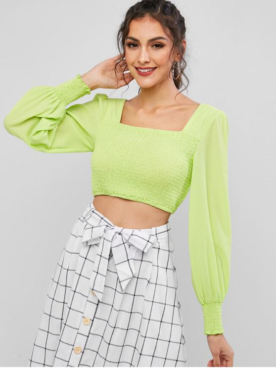 ladies ZAFUL Neon Smocked Square Neck Crop Blouse - MINT GREEN XL