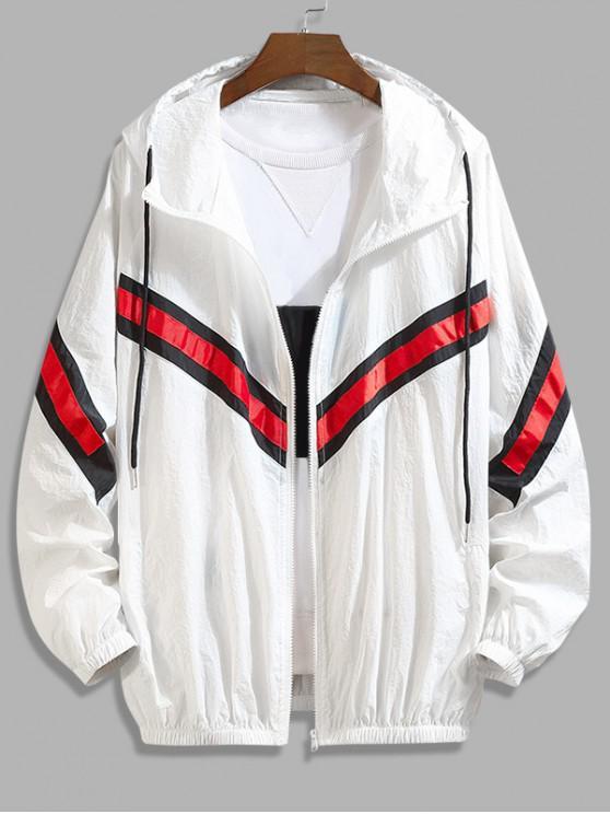women's Color Block Splicing Striped Sunproof Raglan Sleeve Hooded Jacket - WHITE 4XL