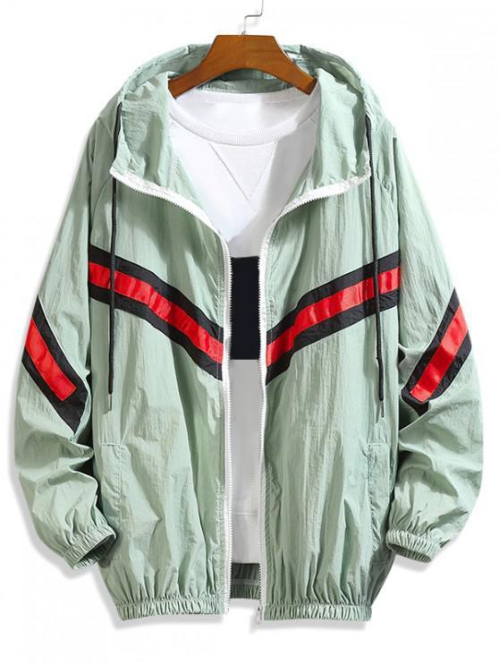 chic Color Block Splicing Striped Sunproof Raglan Sleeve Hooded Jacket - GREEN 2XL