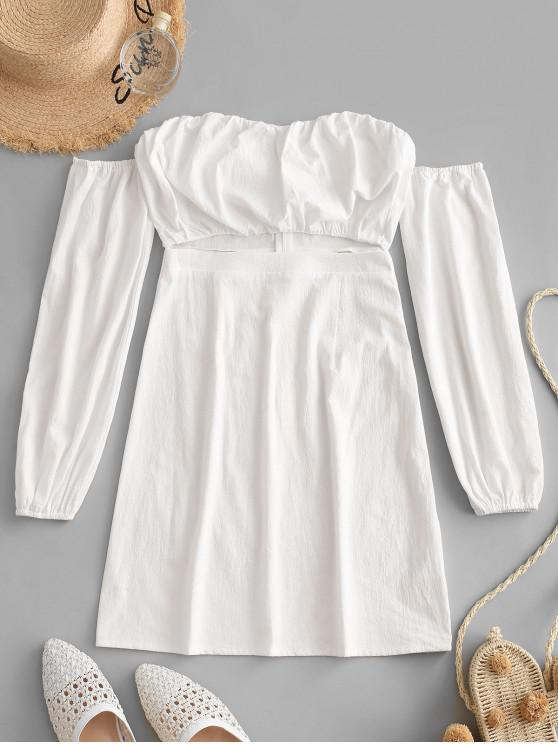 women ZAFUL Cut Out Off Shoulder Short Long Sleeve Dress - MILK WHITE M