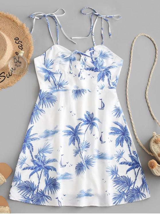 ZAFUL Coconut Trees Tie Shoulder Cami vestido de verano - Blanco M