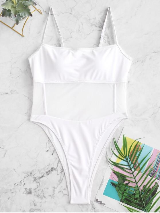 hot ZAFUL Mesh Panel High Cut Sheer One-piece Swimsuit - WHITE M