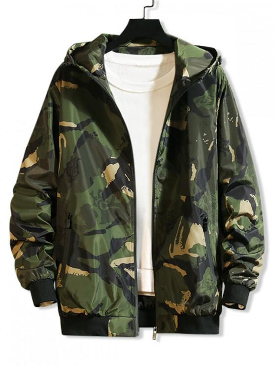 women Camouflage Printed Casual Hooded Jacket - ARMY GREEN M