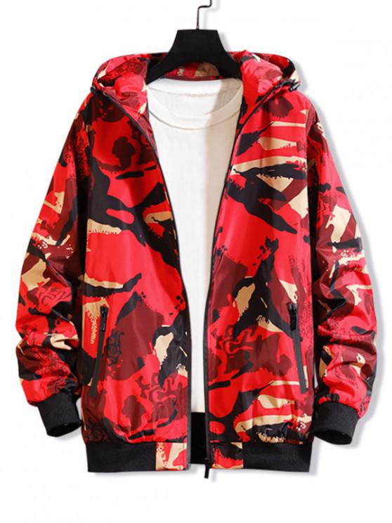 women's Camouflage Printed Casual Hooded Jacket - RED XS