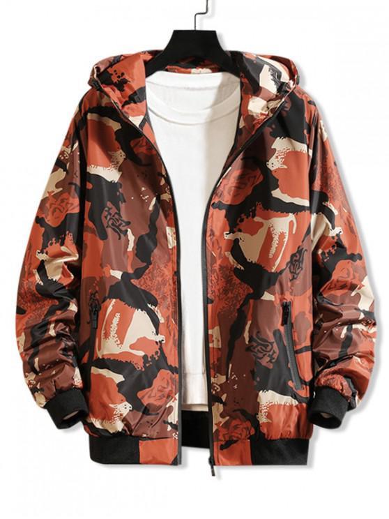 online Camouflage Printed Casual Hooded Jacket - TIGER ORANGE L