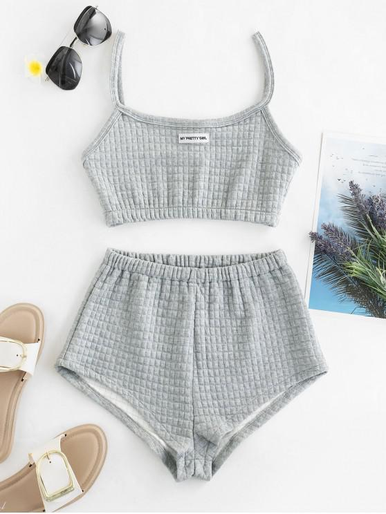 trendy My Pretty Girl Patched Textured Square Two Piece Set - GRAY CLOUD L