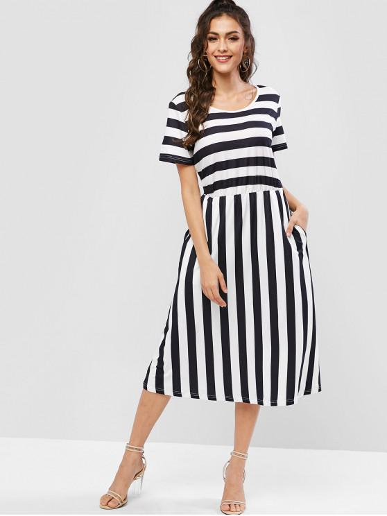 online Round Neck Striped Mid Calf A Line Dress - BLACK S