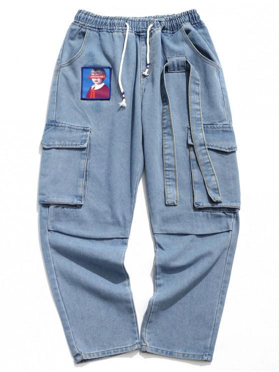 fancy Portrait Sticker Side Flap Pocket Solid Color Casual Jeans - BLUE M