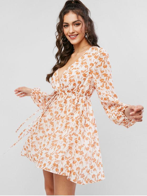 women's ZAFUL Long Sleeve Plunge Surplice A Line Print Dress - TIGER ORANGE M