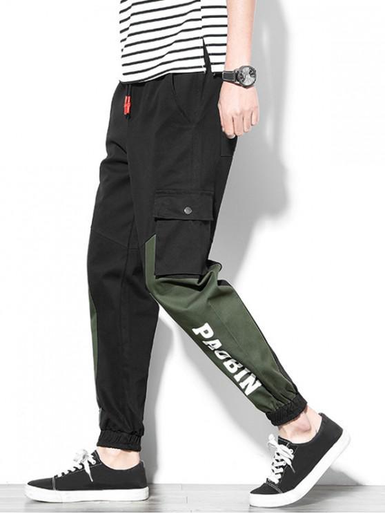 Pantalon de Jogging Lettre Graphique Imprimée Panneau en Blocs de Couleurs - Noir XS